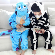 Novelty Animal Monster University Sulley Sully Onesie Skeleton Pajamas For Kids Halloween Cosplay Costume Boys Girls