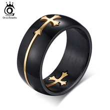 ORSA JEWELS 100% Allergy Free Stainless Steel Cross Ring Moveable Cross Charms Ring Men & Women Jewelry Free Shipping OTR20