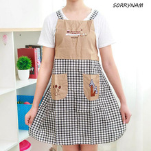 1 Pcs/set Embroidery Strap Home Happy Tree Aprons Kitchen Anti-oil Pollution Fashion Linen Three Trees Apron