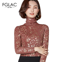 FGLAC Women Turtleneck T-shirts New Arrivals 2018 Spring Long sleeved Mesh tops Elegant Slim Plus size women blusas(China)