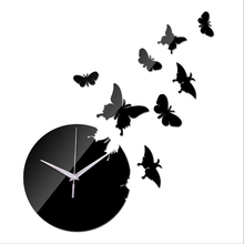 2017 Time-limited Quartz 8 Pcs 3d butterfly Wall Clock Home Decoration Diy Mirror Clocks Art Watch stickers free Shipping