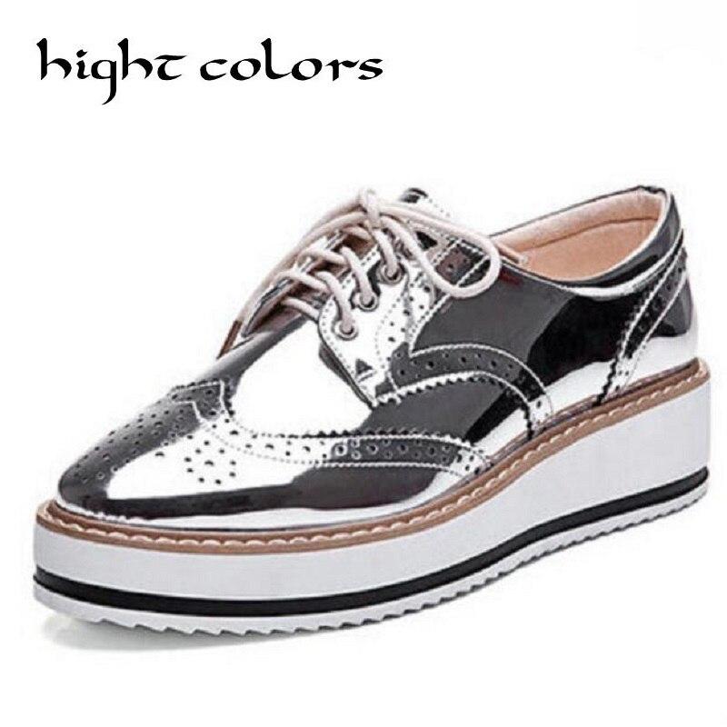 New Womens Winged Oxford Lace Up Striped Platform Metallic Silver Black Fashion Vintage Platform Bullock Flat Female Shoes DXM92<br>