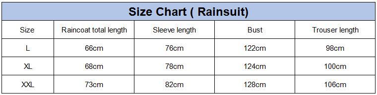 Size chart for raincoat suit