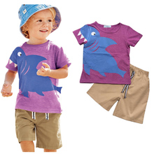 Kids Clothing Brand New Baby Boys Set Summer Fashion Style Animal Picture Short Sleeve T-Shirt + Pants Sets Boys Clothing(China)