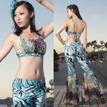 New High Quality Sexy Women Clothing Set Belly Dance Suit Abstracte Pattern Belly Dance Pants and Crop Top Hot Sale WN16102613