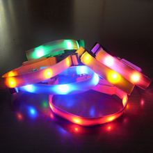 Pets Dog LED Light Blink Flash Night Safety Nylon Collar Waterproof Small Size