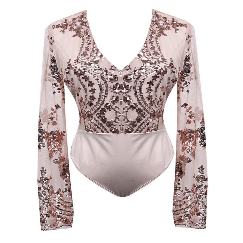 Sequins Women Sexy Leotard Top With Shorts Playsuit Ladies Patchowrk V Neck See Through Blouse Long Sleeve Mesh Top Shorts (Us 2-12)