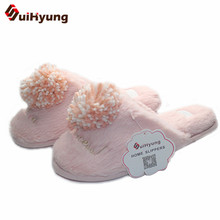 Buy Suihyung Women Winter Warm Home Slippers Indoor Shoes Soft Bottom Non-slip Female Bedroom Floor Shoes Slippers Big Hairball for $11.53 in AliExpress store