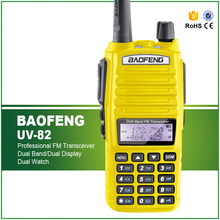 New Arrival Yellow 5W Dual Band VHF UHF 136-174/400-520MHZ Dual PTT Portable FM Radio Transceiver Baofeng UV-82