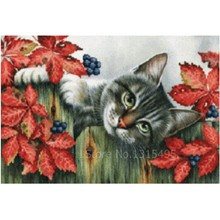 Sewing kit 3d diamond embroidery cat painting 35*25cm cross stitch diamond mosaic animal cat picture pastes needlework art N020(China)
