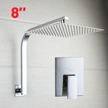Chrome Shower Valve 8Inch Square  Head W/ Wall Mounted Super Thin Goose Neck Arm Shower Set Faucets