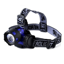 3W LED Headlamp AAA Battery Powerful Waterproof Head Lamp Light Flashlight Torch Blue Headlight For Hunting Fishing Camping