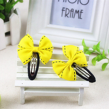 Yellow Blue Pink Red Green Flower Big Dot Bow Hair Clip Kid Children Barrette Pin Gum Hairpin Baby Girls Hair Accessories kk1507