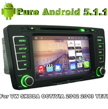 Pure Android 5.1 Car DVD Gray color for VW SKODA OCTIVIA 2012 2013 YETI With Quad Core 2G ROM