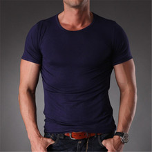 Brand Name Men Summer Style Natrual Modal Fitness t-shirt Men Slim Fit O Neck Plain Blank Casual Summer Clothes For Men MT1354(China)