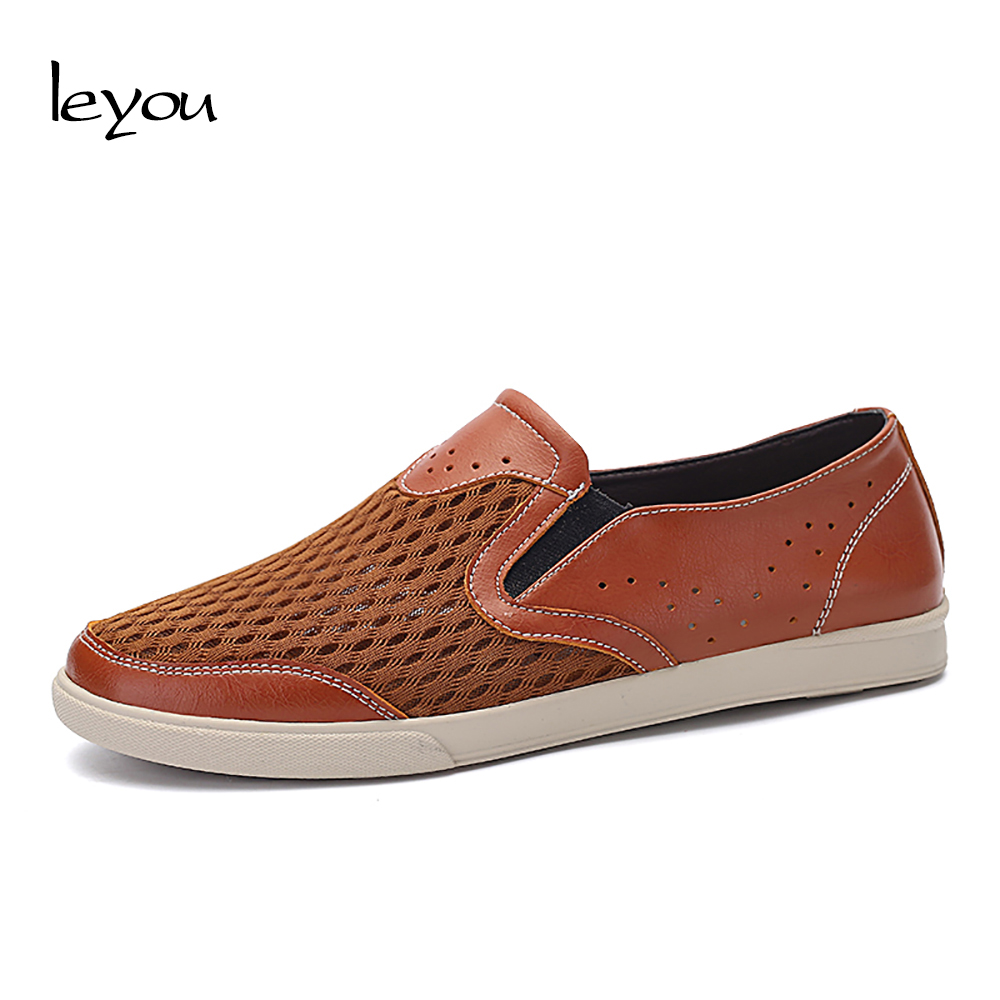 Leyou Plus Size Men Air Mesh Loafers Summer Breath...