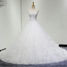 alibaba retail store Off Shoulder Flowers Pleat Illusion Wedding Dress(China)