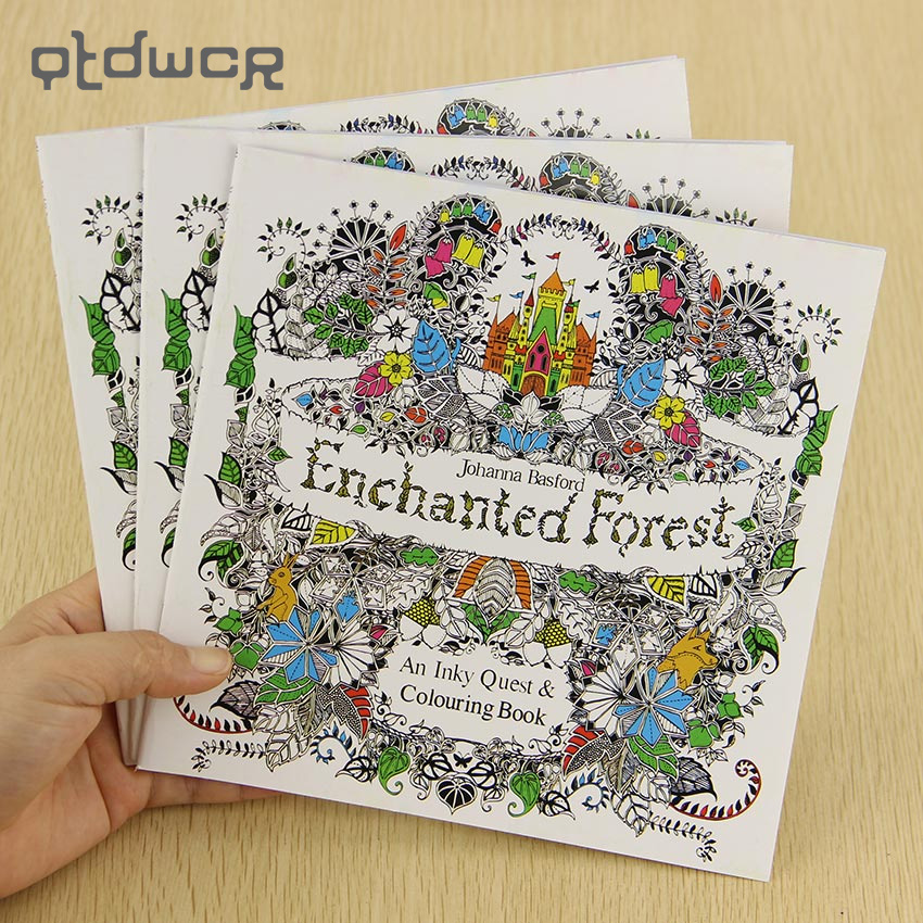1PC School Office Book Enchanted Forest 24 Pages Hand Painted Graffiti Coloring Books of the Relieve Stress Painting Book(China)