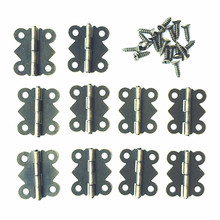 10pcs Mini Funiture hinges 20*17mm Butterfly hinges hinge cabinet hardware accessories lace wooden box 180 90 degrees hinges