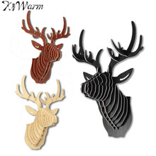3D Puzzle Wooden DIY Model Wall Hanging Deer Head Elk Wood Animal Wildlife Sculpture Figurines Gift Crafts Home Decoration