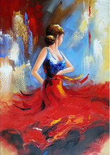 Art - Flying Skirt 100% Hand-painted Modern Wall Art for Home decoration Abstract Girl Dancing Oil Painting on Canvas Art Work(China)