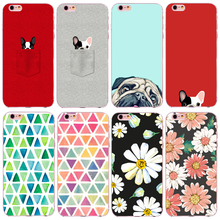 Colorful Flowers Painted Phone Case for iPhone 5 5s SE 6 6s 7 Plus 4 4S 6s Plus Transparent Soft TPU Silicon Cat Dog case cover