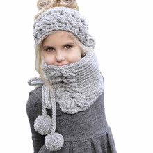 Winter Wool Knitted Handmade Hats Baby Girls Shawls Hooded Cowl Beanie Caps keep warm knit winter cap kids hat(China)