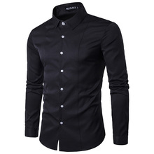 2017 spring dress shirt men long sleeve solid bussines slim fit blouse tops brand clothing Fashion Social Camisa Homme Z10
