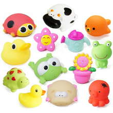 5 PCS Bath Toys in the Bathroom Baby Toy for Children Water Spray Animal Soft Rubber Toys Duck Green Frog for Boys Girls CBT03(China)