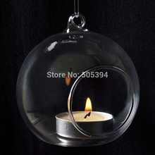 Hot Romantic Crystal Glass Hanging Candle Holder Candlestick Wedding Dinner Decor