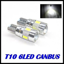 10 X T10 LED canbus W5W 194 Interior Xenon White LED CANBUS NO OBC ERROR t10 6SMD 5630 5730 with Lens Projector Aluminum