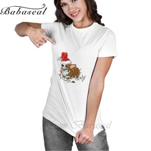 Babaseal Kawaii Women T Shirt Corgi Dog With Santa Hat And Christmas Lights Punk T-shirt Hipster Bts Shirt Designer Women Top(China)