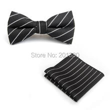 ties for men set bow tie butterfly pocket square stripe plaid Handkerchief cotton party gift business