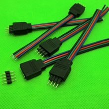 LED Connectors 10pcs 4pin connecting cable For rgb fita tira de led tape male female 4pin rgb led strip connector