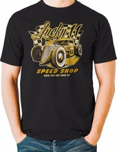 New Summer Style Printed Cotton O Neck Tee Shirt Short Sleeve Lucky Hot Rod Speed Shop Junkyard Race Car Mens Big And Tall(China)