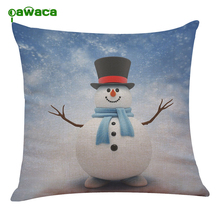 Merry Christmas Pillow Case Gifts Print Christmas Snowman Pillow Cases for Cafe Hotal Pillow Cover Home Supplier 45cm X 45cm(China)
