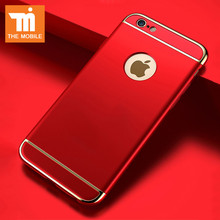 Plating Cover Back Luxury Red Cases For iPhone 6 6S 6 plus Case For iPhone 7 7 plus Hard 3 in 1 Protective Coque Cover