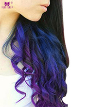 "Neverland Synthetic One Piece Clip in Hair Extensions 20"" Women Wavy Blue Purple Rainbow Ombre Color Hair Fake Hair Pieces(China)"