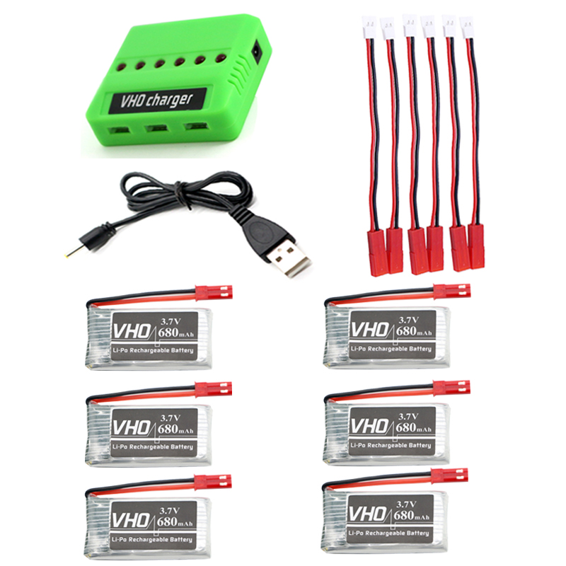 VHO 6pcs 3.7V 680mAh LiPo Battery and 1x 6 in 1 charger cable for FY550 F550 MJX X400 X800 JXD 509G 509W RC Quadcopter<br>