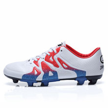 Football Boots 2017 Original Leather Long Spikes Football Training Shoes Blue/Green Best New Soccer Cleats Football Trainer