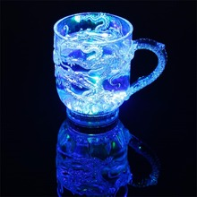 LED Liquid Activated Luminous Glass Cup Inductive Rainbow Colorful Cup Induction Into The Water That Bright