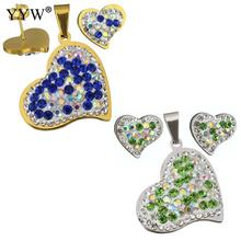 Blue and green crystal Fashion Stainless Steel Jewelry Sets charm heart Rhinestone pendant & earring for women(China)