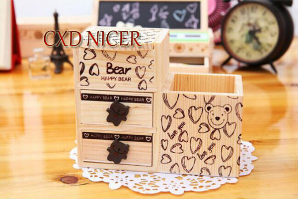 Fashion Tower Beard Desktop Hollow Wooden Pen Holder Office Stationary Supplies Accessories Double Drawer Pencil Holder Dd252 7