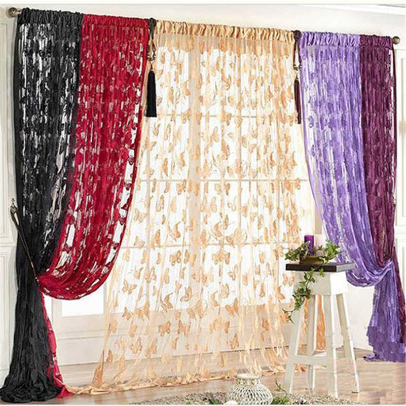 Butterfly Tassel String Sheer Door Curtains 200cm x 100cm for Window Living Room Blackout Divider Valance