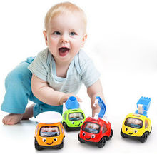 New 1pc Cute Mini Car Cartoon Cars Truck Pull Back Construction Vehicle Funny Kids Children Toys Gift