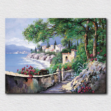 Italy seaside oil painting blue sea water canvas pictures for kids room decoration textured wall art for friends gift