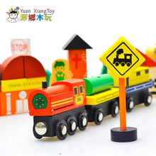 Dibang Children Educational Toy Wooden City Traffic Scene Toys Baby DIY Colorful Magnetic City Traffic Sign Building Blocks(China)