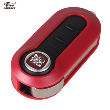 DANDKEY With LOGO Key Case 3 Buttons Flip folding Remote Key Case Shell Cover For FIAT 500 Panda Punto Bravo Red