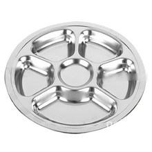 1pcs Stainless Steel Students Grid Dinner Plate Tableware Dish Round Plate 6 Sections