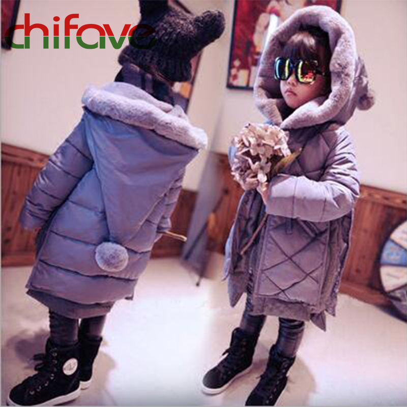 chifave 2017 Children Clothes Long Thick Warm Kids Girls Winter Coat Christmas Clothing Hooded Fur Ball Baby Girls OuterwearÎäåæäà è àêñåññóàðû<br><br>
